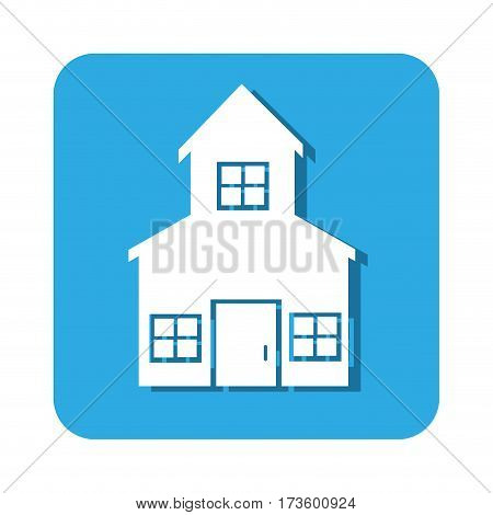 square button two floors house icon design vector illustration