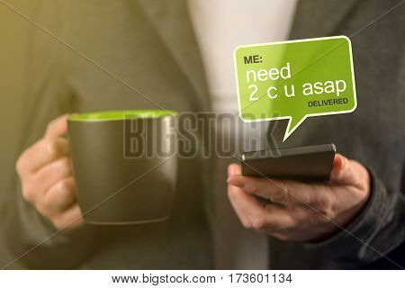 Acronyms abbreviation communication on mobile phone - business woman sending text message