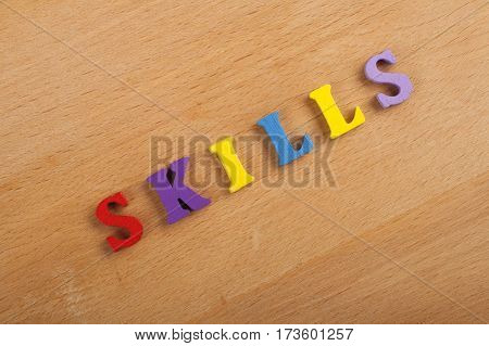 word on wooden background composed from colorful abc alphabet block wooden letters copy space for ad text. Learning english concept