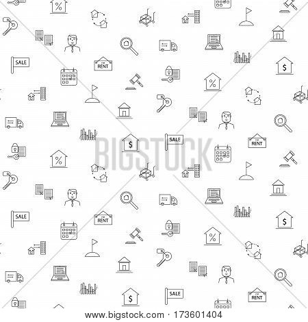 Real estate line icon seamless monochrome vector pattern. Business industry background.