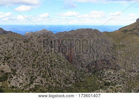 Canyon Torrent De Pareis And Mediterranean Sea, Majorca, Spain