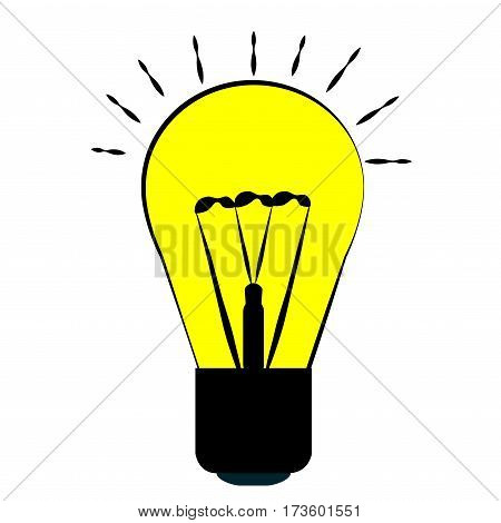 incandescent bulb yellow with a black outline character ideas and energy lamp light. Isolated object