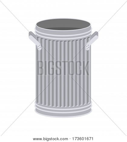 Trash Can Open Isolated. Wheelie Bin On White Background. Dumpster Iron.