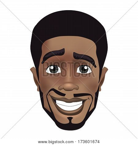 Cute color vector illustration of beard afro black guy face avatar. Positive young black guy smiling
