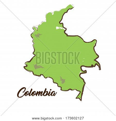 Isolated Colombian map on a white background, Vector illustration