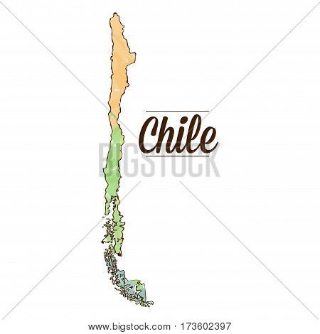 Isolated Chilean map on a white background, Vector illustration