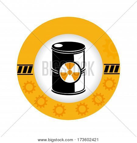 circular frame with silhouette barrels with radioactive materials vector illustration
