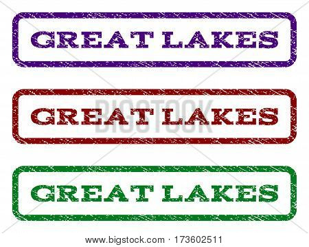 Great Lakes watermark stamp. Text tag inside rounded rectangle frame with grunge design style. Vector variants are indigo blue red green ink colors. Rubber seal stamp with dust texture.