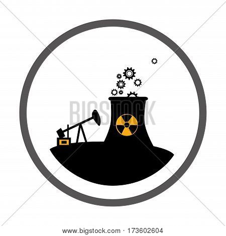 circular border with silhouette oil extraction machine with factory radioactive materials vector illustration