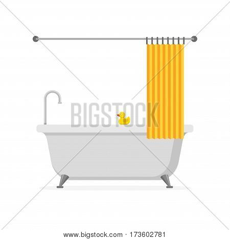 Bathtub with yellow rubber duck and open shower curtain isolated on white background. Bath time in flat style vector illustration