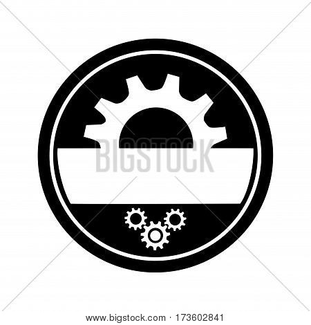 monochrome circular frame with half pinion and gears wheels vector illustration