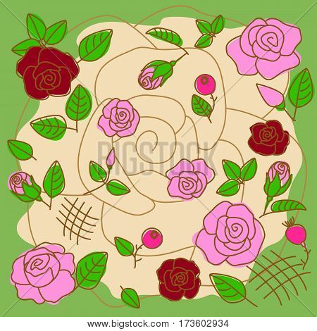 Floral pattern from the red and pink roses with green leaves