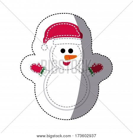sticker shading snowman with scarf and gloves vector illustration