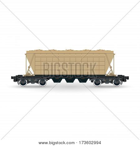 Hopper Car for Transportation Freights, Cargo Wagon Isolated on White Background, Railway Transport ,Vector Illustration