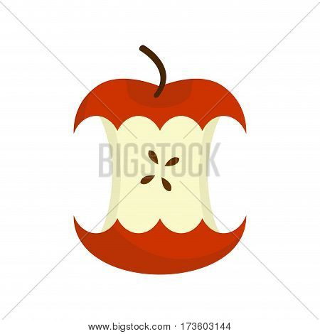 Red Apple Core Isolated. Fruit Trash. Rubbish On White Background. Garbage