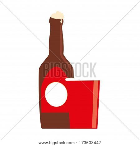 color silhouette with beer bottle and disposable cup vector illustration