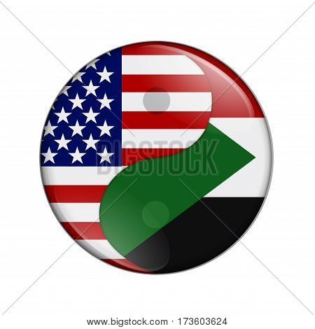 USA and Sudan working together The US flag and Sudanese flag on a yin yang symbol isolated over white 3D Illustration