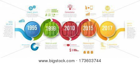 Process chart with 5 steps for business data visualization. Bright colors circle and infographics with icons. Vector template for presentation, prints and web