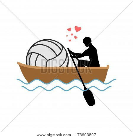 Lover Volleyball. Guy And Ball Ride In Boat. Lovers Of Sailing. Romantic Date. Love Sport Play Game