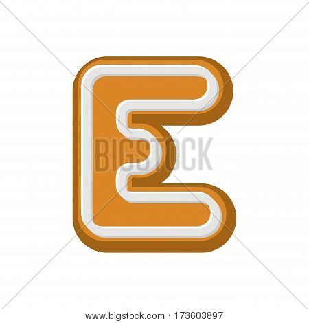 Letter E Gingerbread. Peppermint Honey-cake Font. Cookies Alphabet. Lettering Biscuit