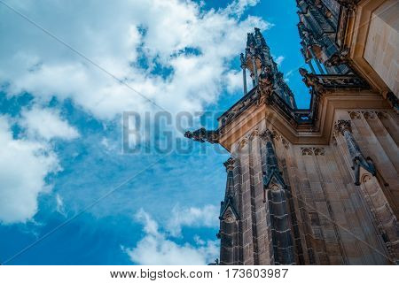 Architectural detail on St Vitus Cathedral in Prague Castle, Czech Republic