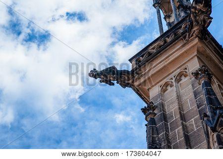 Architectural detail on St Vitus Cathedral in Prague Castle, Czech Republic