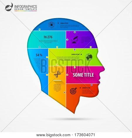 infographic template with head. Jigsaw concept. Vector illustration