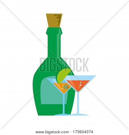 liquor bottle with cork and cocktails vector illustration