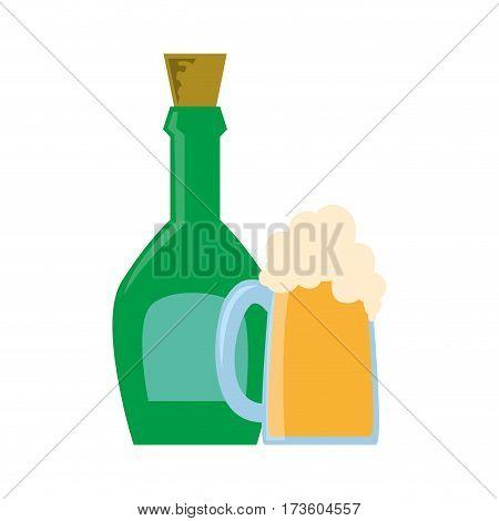 liquor bottle and foamy beer glass vector illustration