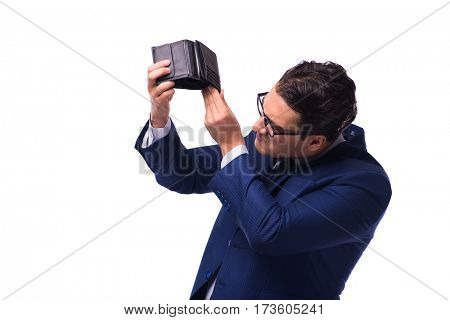 Bankrupt broke businessman with empty wallet on white background