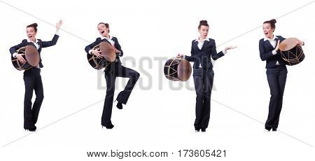 Funny businesswoman with drum isolated on white