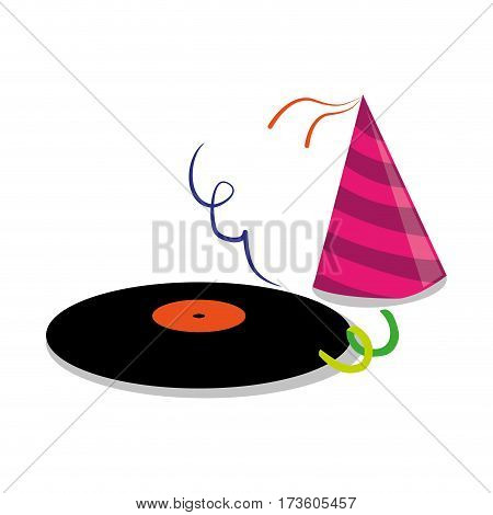 color silhouette with vinyl lp and party hat vector illustration