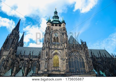pagan symbols of the zodiac on the Golden Gate St. Vitus Cathedral in Prague, Czech Republic