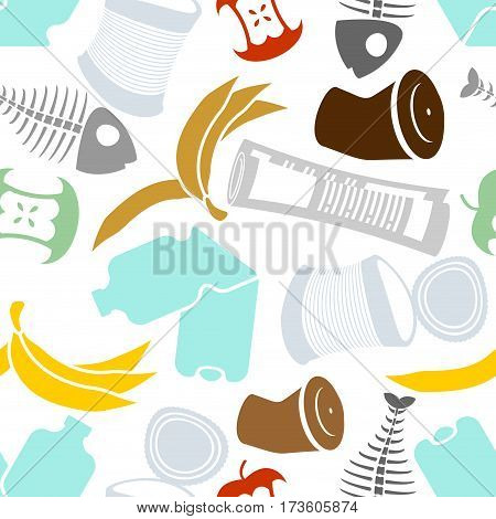 Rubbish Seamless Pattern. Garbage Texture. Trash Ornament. Litter Background. Peel From Banana And S