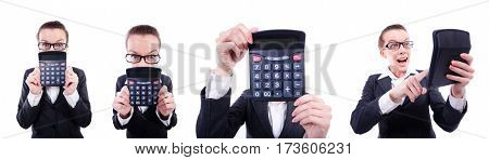 Funny accountant with calculator on white