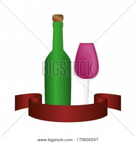 liquor bottle with cork and glass cup vector illustration