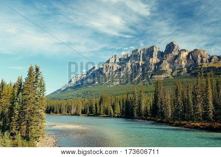Castle Mountain with creek in Banff National Park in Canada