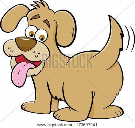 Cartoon illustration of a happy dog looking backwards.