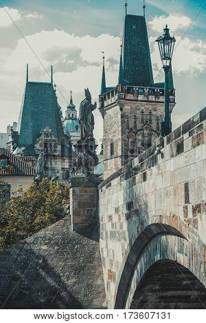 Charles Bridge in Prague vintage, Czech Republic