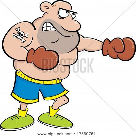 Cartoon illustration of an angry boxer punching.