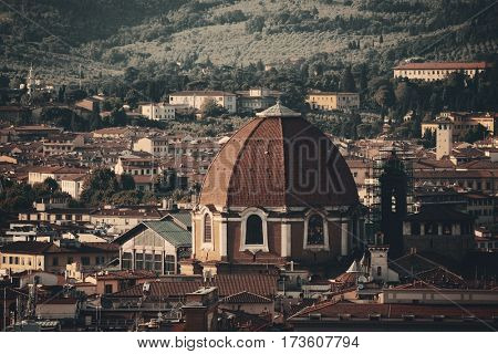 Florence rooftop view with Medici Chapels dome in Italy