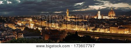 Florence skyline viewed from Piazzale Michelangelo at night panorama