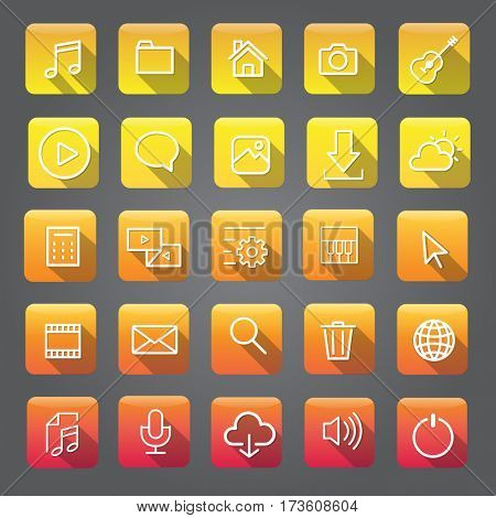 Icon Collection Vector Application Content
