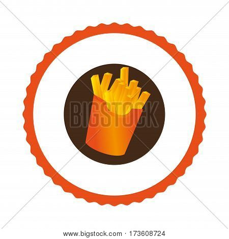 circular emblem with french fries portion vector illustration