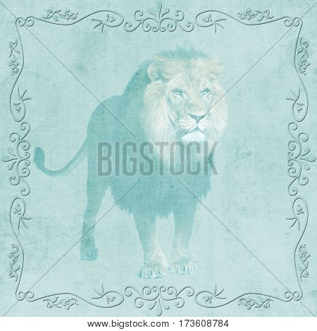 background with a lion and ornament on canvas