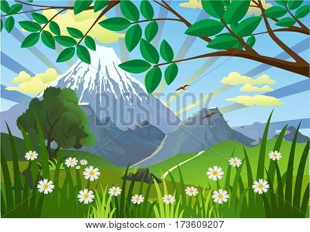 Landscape - mountains, trees and flowers in the meadow. Sunrise. Morning in the nature. Vector illustration