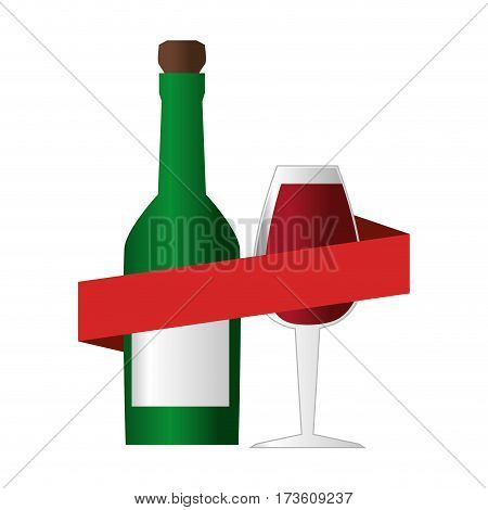 wine bottle with cork and glass cup and ribbon around vector illustration