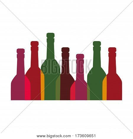 color background with set of liquor bottles vector illustration
