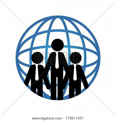 pictogram world map and executives vector illustration
