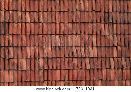 The Clay shingles on a house wall